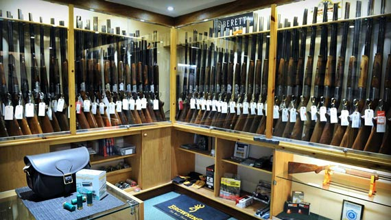 Trulock and Harris gun room with display cabinets